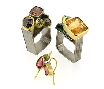 'Monolith' rings and earrings set (clockwork from top left): Diamond and topaz; Tourmaline, blue zircon and topaz; Pink tourmaline and yellow diamond set in palladium and 18ct gold