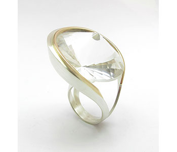 Hanna Tommola - 'Fortuna' cocktail ring in silver and 9ct rose gold with a double pavilion quartz £450