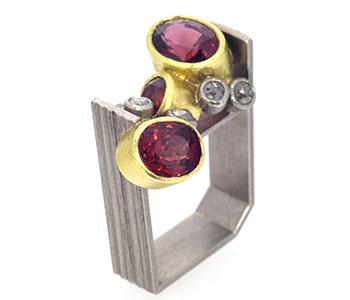 'Monolith' ring, spinel and diamond set in palladium and 18ct gold