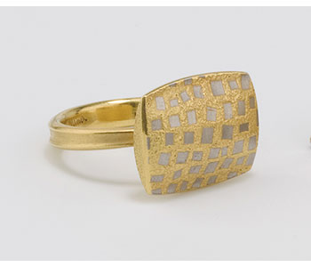 Jacqueline Mina  - 'Tasserae' ring in 18ct yellow gold with platinum fusion inlay squares £1680