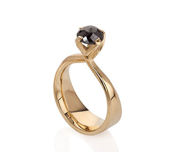 Sarah Herriot - 'Stand Up For Yourself' ring in 18ct yellow gold set with a rose cut 1.8ct black diamond £3187
