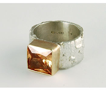 Susanna Hanl - Chunky textured silver and 9ct yellow gold ring with a natural 7.8ct square zircon £713