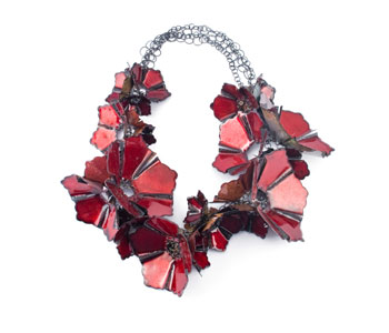 'Red Flowers' necklace in silver, copper and enamel
