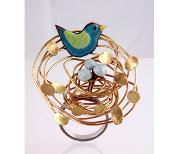 Fiona Cameron - FlourishRing in silver, brass and enamelled copper £260
