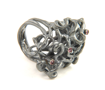 Georg Dobler - FlourishRing in silver and 18ct gold with rubies £1134