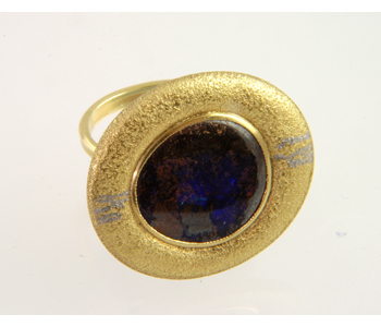 Jacqueline Mina - FlourishRing in 18ct gold with platinum fusion inlay set with a boulder opal £2676