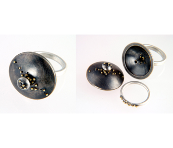 Jenifer Wall - FlourishRing in oxidized silver and 18ct gold granules £390