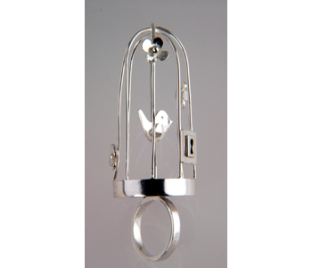 "Sarah Lawrence - ""Birdcage"" FlourishRing in silver £200"