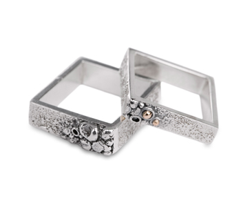 Shirley Smith – Pair of FlourishRings  in silver £70 and in silver and 9ct gold £70