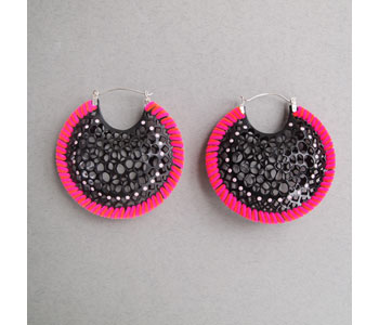 'Black Cell' hand pierced earrings in powder coated aluminium, suede, chenille and silver