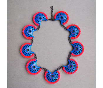 Clara Bowles - 'Cuke Blue' necklace hand pierced in powder coated aluminium, suede, chenille and silver