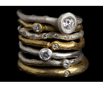 'Rose Root' Rings in 18ct white and yellow gold with diamonds