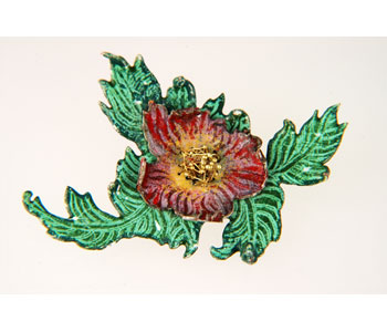 'Peony' brooch in hand pierced enamelled copper with gold