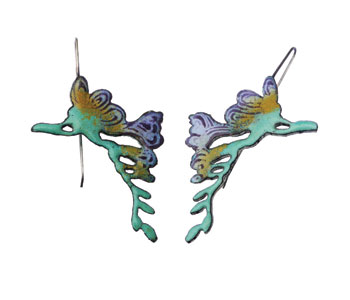 'Freesia' earrings in hand pierced enamelled copper with silver