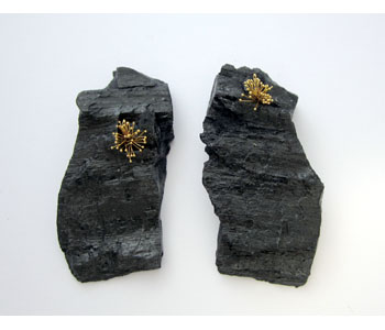 'Out of the Ashes' - earrings in charcoal and 22ct gold