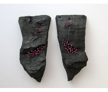 'Out of the Ashes' - earrings in charcoal with pink pigment