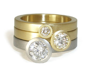 'Trumpets' rings in 18ct yellow gold, platinum and diamonds