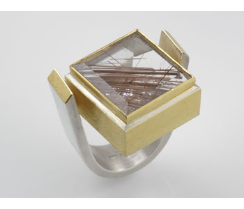 Ring in silver and 24ct gold ring with rutilated quartz