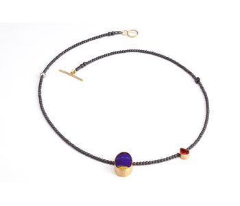 Necklace with Australian opal fire opal pearl hematite and gold