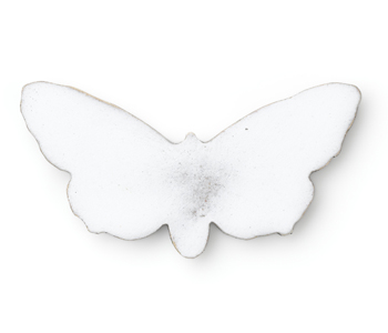 'Butterfly' brooch in oxidised silver and white enamel