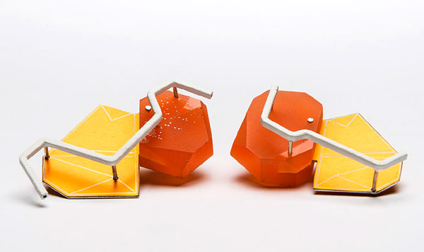 'Orange' - earrings in Thermochromic Resin, dyed aluminium, brass and silver - Beth Spowart, Duncan of Jordanstone College of Art and Design, Dundee;