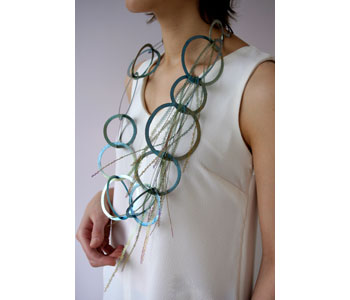 'Overgrown' – neckpiece in titanium, niobium and precious white metal, modelled