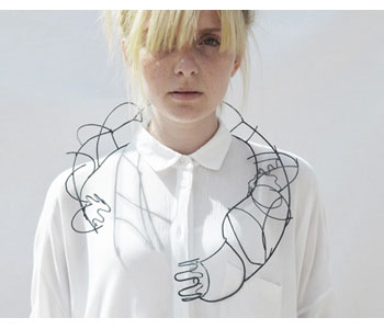 Natalie Lee, Wired'Wired Wearables' – neckpiece in steel and enamel, modelled