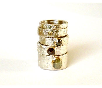 'Rivda' – rings in silver and 9ct gold set with diamonds