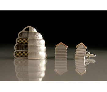 'Skep Beehive' brooch and 'Box Beehive' cufflinks in silver with 18ct red gold detail
