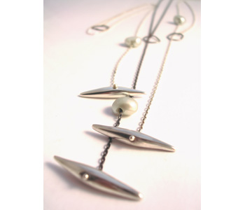 'Quill' necklaces in silver with freshwater pearls