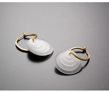 'Cloud Light' earrings in Perspex and 18ct gold
