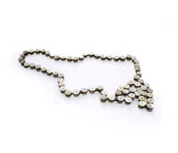 'Shell' necklace from bicycle chain, mother of pearl and silver