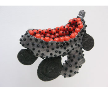 'Ginger' brooch by Sam Tho Duong in silver and nylon with dyed coral stones
