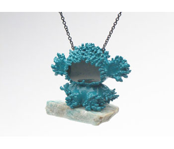 'Blue Bear' pendant  in electroformed copper, stone, lacquer, oxidised silver.