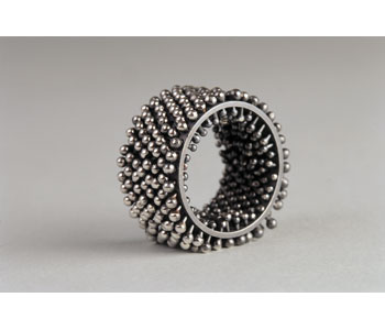 Hedgehog' ring in oxidised silver