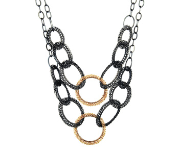'Embellish' necklace hand crocheted in oxidised silver and 18ct gold