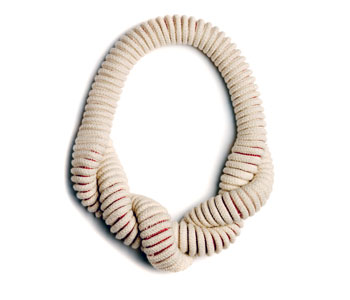 'Small Twist' necklace 16 metres unbleached cotton rope and cotton yarn