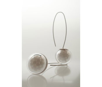 'Conception' earrings in hand-blown glass and silver