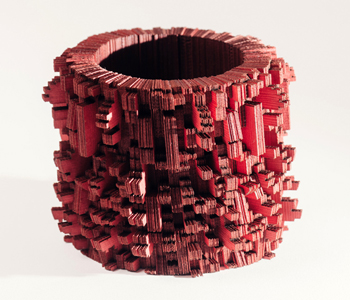 The 'Kapustin' bangle from 700 pieces of laser cut Japanese linen card