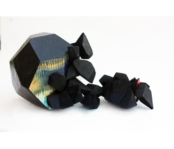 'Black tourmaline' brooch in oxidized white metal, balsa wood, ink, acrylic paint and magnet