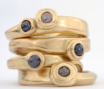 Rings by Jennie Gill in 18ct gold set with cinnamon diamonds