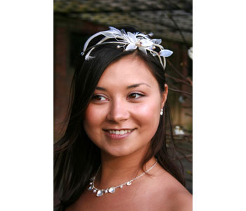 Tiara by Sarah Collins in shell and feathers