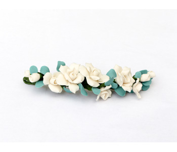 'Rose Cluster' hairpiece by Nicola Malkin in porcelain