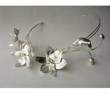 'Orchid' tiara by Hannah Peters in silver with pearls