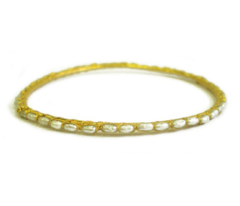 Pearl bangle in silver encased with thick 22ct gold plate by Ruth Tomlinson