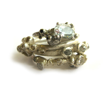White gold rings set with rough diamonds and aquamarine by Ruth Tomlinson