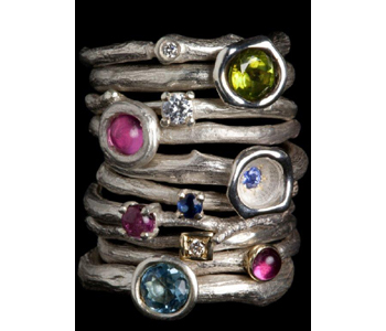 'Rose Root' rings in silver and gold with semi-precious stones