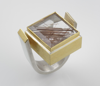 Silver and 24ct gold ring with rutilated quartz