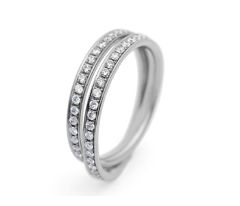 18ct white gold and diamond double loop eternity ring