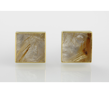 Cufflinks in silver and 24ct gold with rutilated quartz